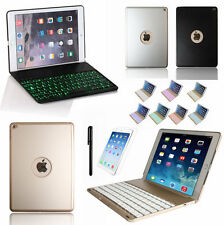 7 Color Backlight Aluminum Bluetooth Keyboard Case Cover For iPad Air 2 IPAD 6