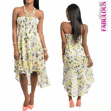 New Sexy Floral High Low Bandeau Dress Size 6 - 12 Summer Party Casual Evening