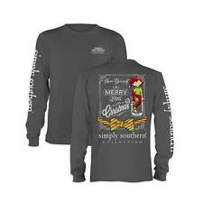 Long sleeve Simply Southern Collection Preppy Prep Elf T-shirt  Gray