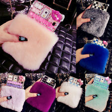 Bling Crystal Rabbit Fur Back Case Cover Skin for Samsung Galaxy Note 3 4 S4 S5