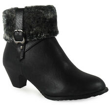 NEW WOMENS LADIES ANKLE LOW HEEL BUCKLE FUR LINING CASUAL CHEAP BOOTS SHOES SIZE