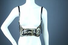 ANIMAL PRINT VELOUR ELASTIC BUCKLE CORSET UNDER BUST HALTER TOP VEST BELT NEW