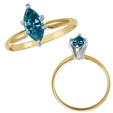 0.5 Carat Blue Marquise Diamond Solitaire Wedding Fancy Ring 14K Yellow Gold