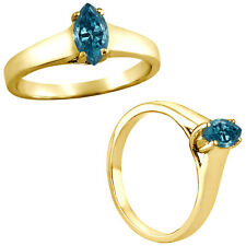 0.5 Carat Blue Marquise Diamond Solitaire Engagement Bridal Ring 14K Yellow Gold
