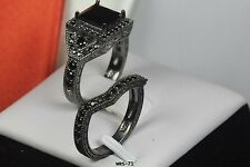 BLACK ON BLACK GOTHIC LADIES WEDDING RING ENGAGEMENT RING SET-HYPOALLERGENIC
