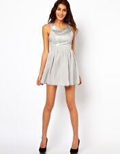 Lipsy Silver Grey Faux Leather Cut Work Front Chiffon Prom Party Skater Dress