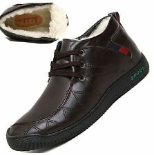Mens ankle boots dress casual snow winter fur warm waterproof leather shoes