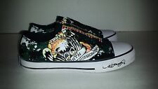 Ed Hardy Kids Youth Sneaker Shoes LR Bangkok Black Tattoo Eagle Design Slip On