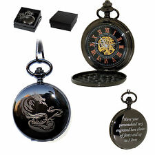 Black Personalised Chinese Dragon Mechanical Skeleton Pocket Watch Hand Wind