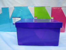 Collapsible Storage Box With Lid, Hot Pink, Lime Green, Purple, Aqua Blue Office