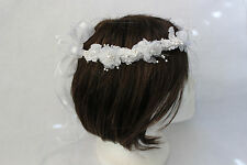 new birthday picture costume baptism christening flower girl wreath crown WHITE