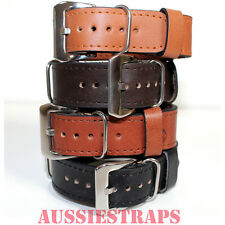 LEATHER NATO G10 Vintage Style Watch Band Strap Pre-V Buckle PreV suit Panerai