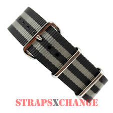 PREMIUM NATO ® G10 BOND BLACK/GREY Military Divers Watch Strap Band 4 Ring NYLON