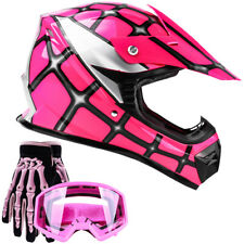 Youth Kids DOT Helmet Goggles Gloves Combo Offroad Dirt Bike ATV Pink Spiderman
