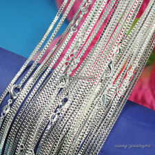 "Wholesale 925 Sterling Solid Silver Plated 2mm Box Chain Necklace 16""-24"""