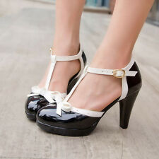 Retro Womens T Strap Bowknot High Heel Pumps Patent Leather Mary Jane Shoes HOT