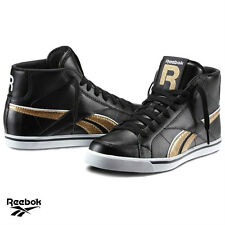 Womens Reebok Hi Top Trainers shoes Leather Black Sneakers Lace up UK Size Ne
