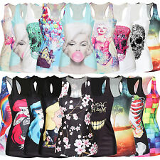 Sexy Stylish Women Graphic Printed T Shirt Blouses Gothic Top Vest Tank Clubwear