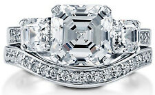 New Asscher Cut Cubic Zirconia CZ Sterling Silver Engagement Wedding Ring Band