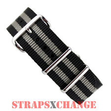 NATO® G10 BLACK GREY James Bond military diver's watch strap band NYLON 4 ring