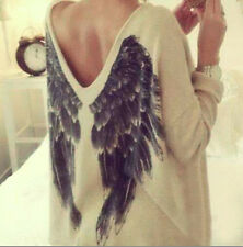 Causual Women Tee Long Sleeve Feathers Angel Wing Print T-shirt V Neck Blouses