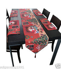 Christmas Party Table Runner Cloth Placemats Mr Sants Gift Give Away Home Decor