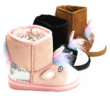 New Girl's Fur Winter Snow Boots Faux Suede Calf Warm Cute Fashion Flat Shoes