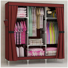 Triple Portable Folding Clothes Wardrobe Closet Armoire Storage Rack Cabinet
