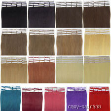 20pcs/set Skin Weft Tape In Remy Human Hair Extensions Black Brown Blonde