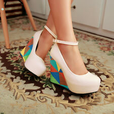 Women's Fashion Strappy Wedge High Heels Pumps Party Shoes AU Size 2.5--7.5 D356