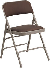 Triple Braced Fabric Upholstered Steel Folding Chair - Color Choice