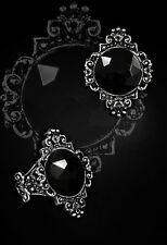 Ring Bague Gothic Pewter Lenore Black Stone Baroque Gothique étain Restyle New