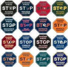 """NFL Football STOP SIGNS 12"""" x 12"""" DANGER AHEAD -Assorted Team"""