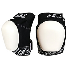 187 Killer Pads - Pro Knee Pads black / white caps - Skateboard Roller Derby