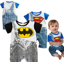 Kids Baby Boys Toddler Outfits Romper Suit Superman Batman Overalls Clothes 0-24