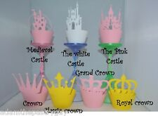 PRINCESS PARTY CASTLE, CROWN, PRINCESS PARTY THEME CUPCAKE WRAPPERS x12