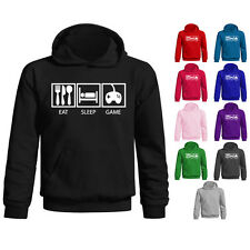 Kids Childrens Eat Sleep Game Funny Gamer Computer Pullover Hoodie Age 5-13