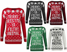 New Women's Men's Merry Christmas Ya Filthy Animal Xmas Knitted Jumper Size 8-14