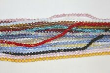 Glass Beads - 4 mm- Round Faceted -32 Facets- Five (5) Strands (About 500 Beads)
