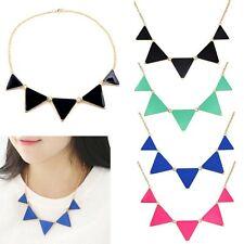 New Elegant Retro Fashion Geometric Black Enamel Triangle Bib Collar Necklace