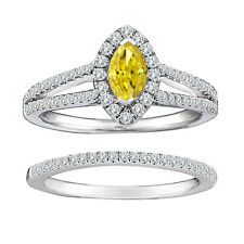 1.25 Carat Yellow Marquise Diamond Solitaire Double Halo Ring 14K White Gold