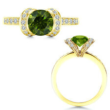 1 Carat Total Weight Green & White Diamond Engagement Ring 14K Yellow Gold