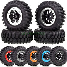 4PCS 1:10 RC 4WD Car Truck Off Road Climb Tires Beadlock Black Wheel Rims 4037A