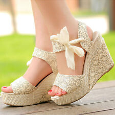 Summer Womens High Heel Wedge Platform Sandals Bowknot Ankle Strap Shoes