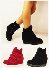 New Girl's Fashion Lace Up High Top Ankle Wedge Heels Sneaker Booties Shoes