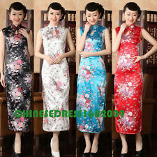 white Chinese women's silk/satin evening long dress Cheongsam SZ: S-2XL