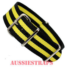 NATO ® G10 YELLOW BLACK BOND STRIPES military divers watch strap band NYLON