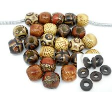 Beautiful Painted Wood Drum Beads or Dyed Rondelle Beads US SELLER!!