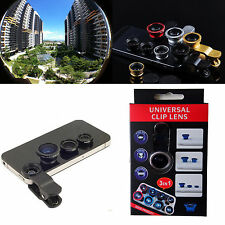3in1 Fish eyeWide Angle Macro Camera Photo Zoom Len clip for phones Phablet 2013