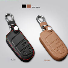 Leather Remote Key Fob Case Holder Cover Fit Jeep Cherokee Dodge Chrysler 300C